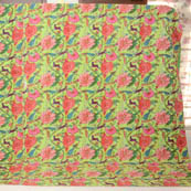Pink and Green Handmade Floral Pattern Kantha Quilt- 4341