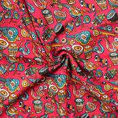 Pink and Green Musical Instrument Design Manipuri Kalamkari Silk Fabric-16183