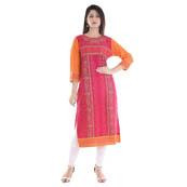 Pink and Orange 3/4 Sleeve Bandeji Print Rayon Kurti-3053