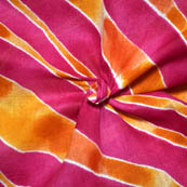 Pink and Orange Leharia Pattern MulMul Cotton Fabric-14138
