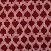 Pink and Red Heart Pattern Block Print Fabric-4210