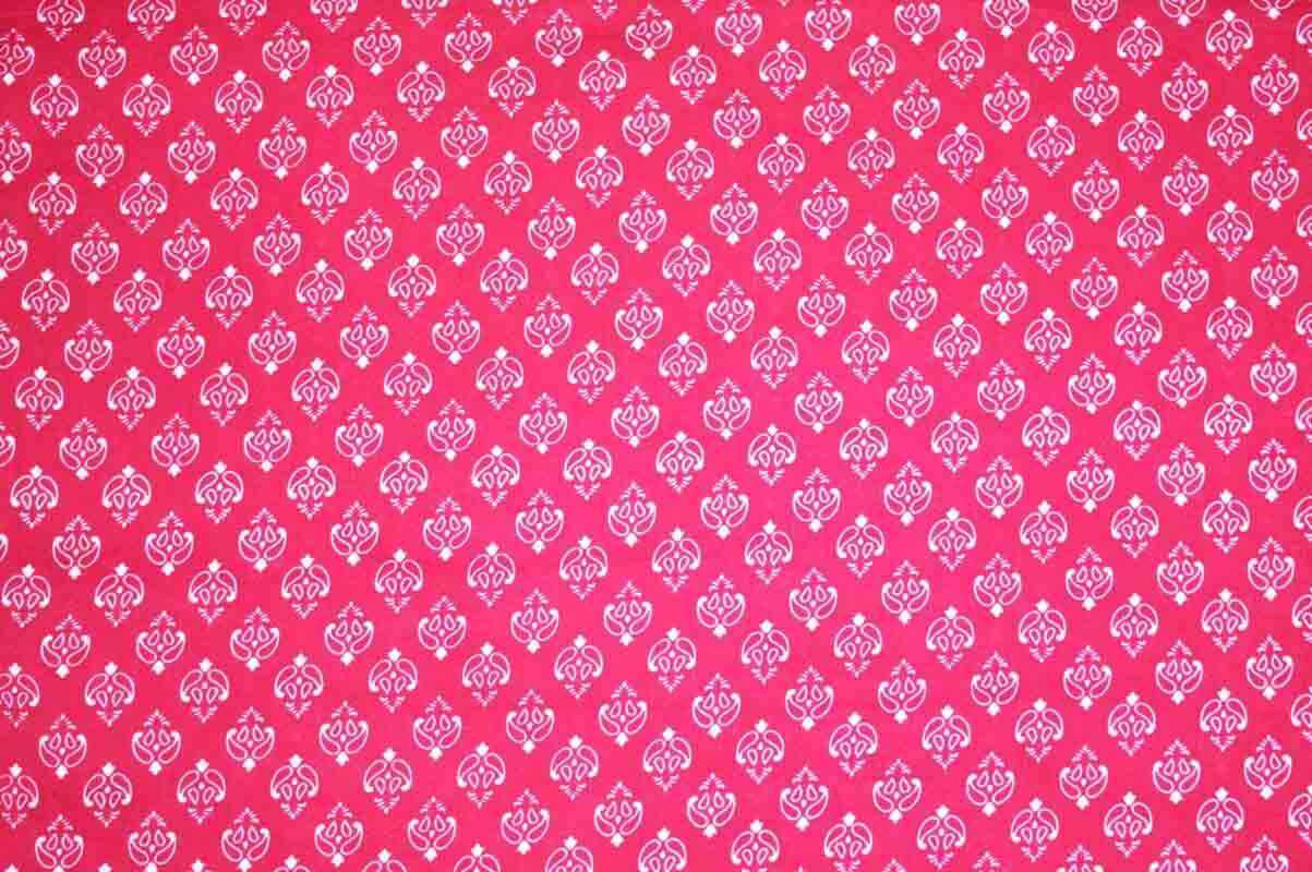 Pink and White Block Print Indian Cotton Fabric
