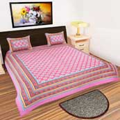 Pink and White Flower Printed Bedsheet with 2 Pillow Covers