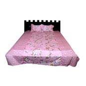 Pink and White Flower Printed Cotton Double Bed Sheet-0G75
