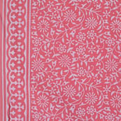 Pink and White Leaf Pattern Block Print Indian Cotton Fabric-4219