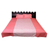 Pink and White Printed Cotton Double Bed Sheet-0G51