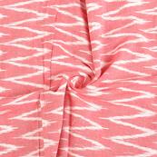 Pink and White Zig Zag Cotton Ikat Fabric-12146
