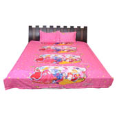 Pink and Yellow  Print Cotton Double Bed Sheet -0K2