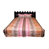 Pink and Yellow  Print Cotton Double Bed Sheet -0KG12