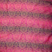 Pink and golden circular shape brocade silk fabric-5003