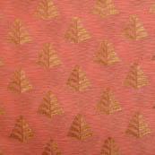 Pink and golden flower brocade silk fabric-5052