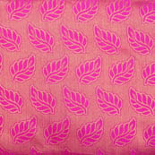 Pink and golden leaf pattern brocade silk fabric-4985