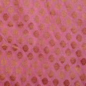 Pink and golden small flower brocade silk fabric-5055