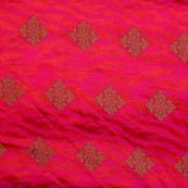 Pink and golden soft brocade silk fabric-5065