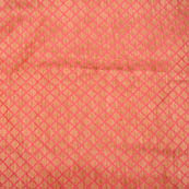 Pink and golden square shape silk brocade fabric-4980