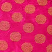 Pink and large golden circle shape brocade silk fabric-4649