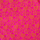 Pink and red flower printed silk brocade fabric-4599
