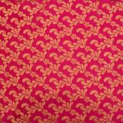 Pink flower golden brocade silk fabric-4996