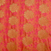 Pink-orange and golden silk fabric-5031