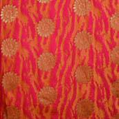Pink-orange and golden silk fabric-5034