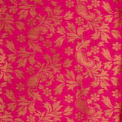 Pink paisley flower shape brocade silk fabric-4968