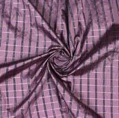 Purple Blue Checks Taffeta Silk Fabric-9459
