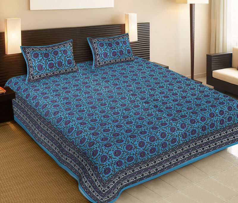 Purple Blue Cotton Jaipuri Bedsheet-516