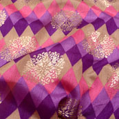 Purple-Blue and Golden Flower Shape Brocade Silk Fabric-5425