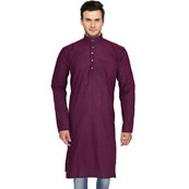 Purple Cotton Plain Handloom Khadi Long Kurta-33155