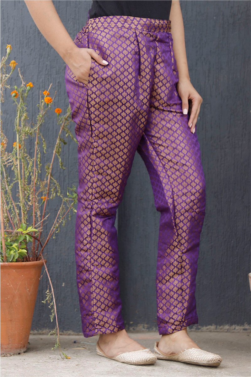 Purple Golden Brocade Silk Ankle Women Pant-34200