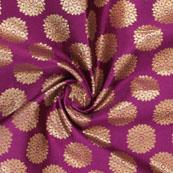 Purple Golden Brocade Silk Fabric-8976