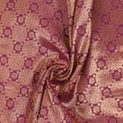 Purple Golden Brocade Silk Fabric-8977