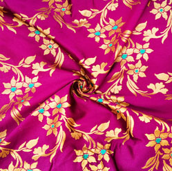 Purple Golden Floral Brocade Silk Fabric-12604