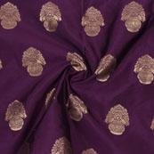Purple Golden Floral Brocade Silk Fabric-9110