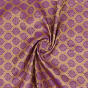 Purple Golden Floral Jacquard Brocade Silk Fabric-9141