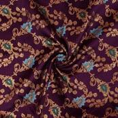 Purple Golden Floral Brocade Silk Fabric-9301
