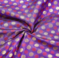 Purple Golden Polka Brocade Silk Fabric-12481