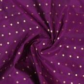 Purple Golden Polka Brocade Silk Fabric-9355