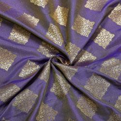 Purple Golden Square Brocade Silk Fabric-12163