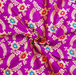 Purple Golden and Red Floral Brocade Silk Fabric-12530