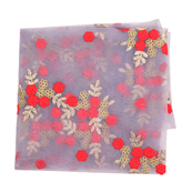 Purple Net Fabric With Red and Golden Flower Embroidery-60832