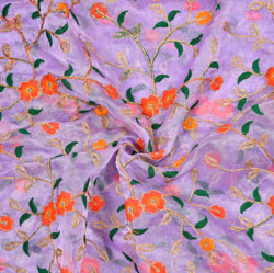 Purple Orange Flower Organza Embroidery Fabric-22190