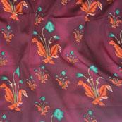 Purple Orange and Green Flower Crepe Silk Fabric-18204