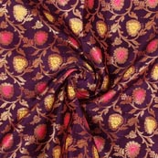 Purple Pink Yellow and Golden Floral Brocade Silk Fabric-9281