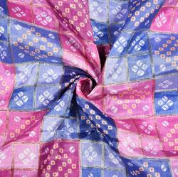Purple Pink and Blue Bandhej Digital Position Print Georgette Fabric-19354