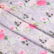 Purple-Pink and Green Flower Silk Crepe Fabric-18114