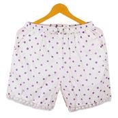 Purple White Polka Cotton Block Print Short-14663