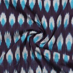 Purple White and Cyan Ikat Cotton Fabric-11044