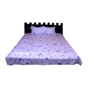 Purple and Blue Floral Cotton Double Bed Sheet-0D53