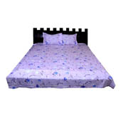 Purple and Blue  Print Cotton Double Bed Sheet -0KG6